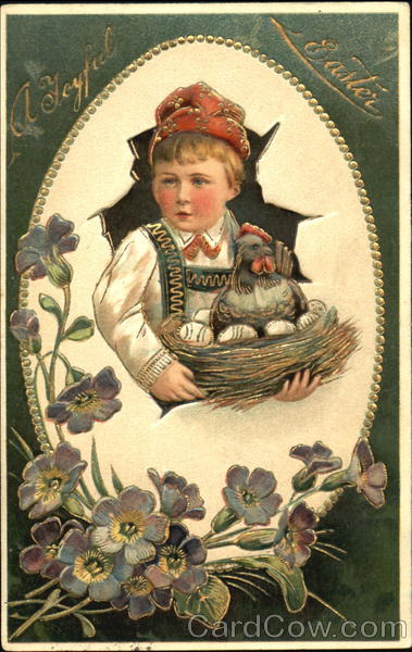 Boy with hen and eggs in basket With Children