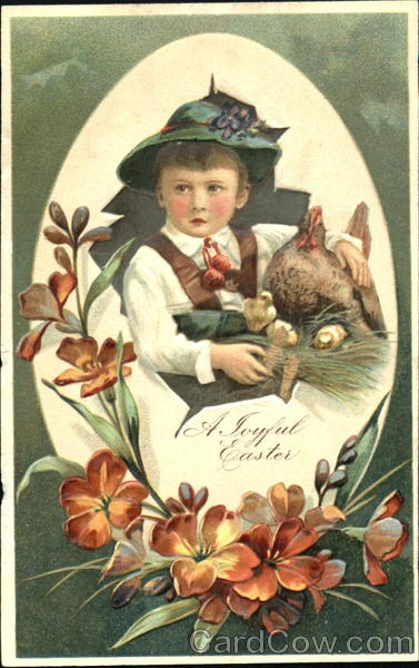 A Boy with his Hen and Chicks With Children