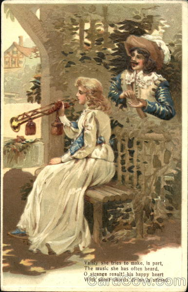 A woman playing a trumpet while man looks on Music