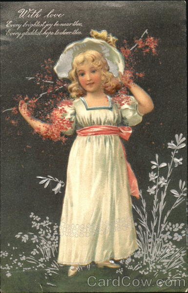 Girl in dress with branch of flowers Girls