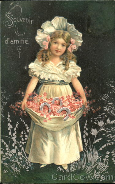 Young Girl Holding a Basket of Flowers Girls