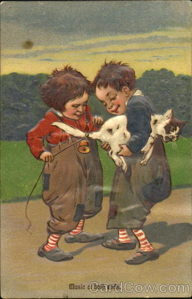 Two Boys Tying a Bell to a Cat's Tail Cats