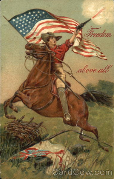 Man on Horseback Holding Rifle and American Flag Patriotic