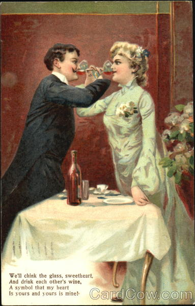 Lovers Drinking Wine Antique Postcard