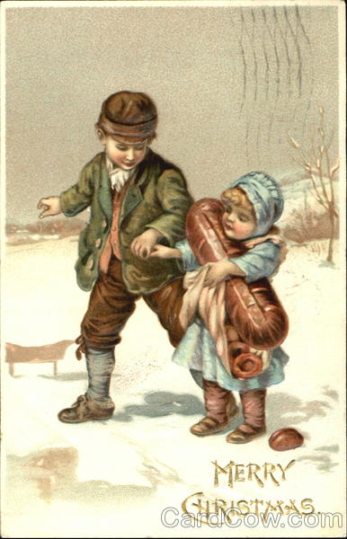 Boy and girl walking in the snow Children