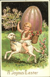 Vintage Easter postcard showing a little girl riding a lamb circa 1909