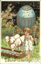 Child with two lambs and and Easter egg