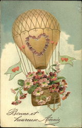 Hot Air Balloon with flowers in the basket