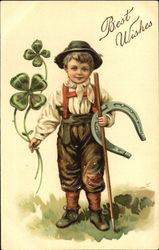 Lucky leprechaun with clover and horseshoe