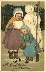 Girls in Snow with Snowman