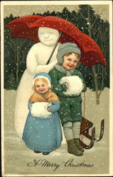 Two Children Pose with a Snowman