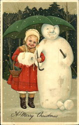 Girl in red coat with snowman