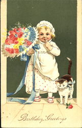 Toddler Holding Flower bouquet with Kitten at Side