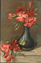 Watercolor Red Carnations in a Green Glass Vase