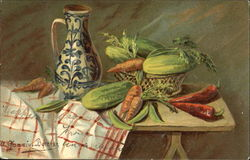 Still art of a pitcher and basket of vegetables