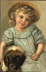 Girl in Bonnet with Puppy