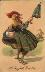 Mother hen with easter eggs in her basket chasing away a bunny