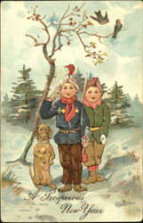 Two boys and dog in snow