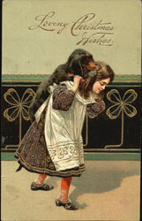 Girl carrying Daschund