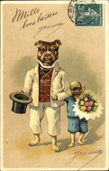 Two dogs in formal dress with flowers