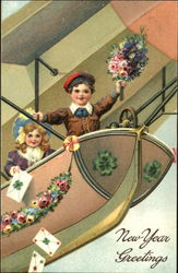 Two Children on Airship