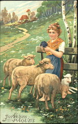 Young Girl With Lambs in the Country