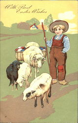 Small boy tending sheep