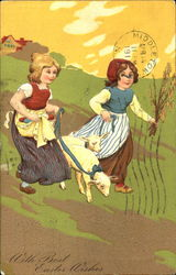 Two Girls with Sheep