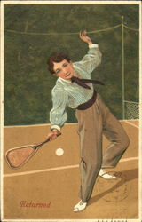 Young man playing tennis Postcard