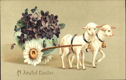 Sheep Pulling Cart of Purple Flowers