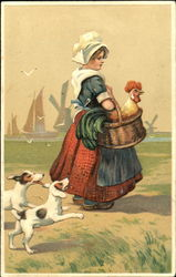 Dutch girl carrying a rooster in a basket