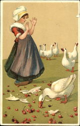 Dutch girl and geese