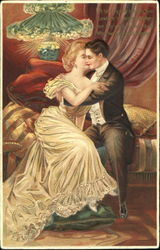 Victorian Couple Embracing on a Couch