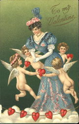 Young woman surrounded by four angels