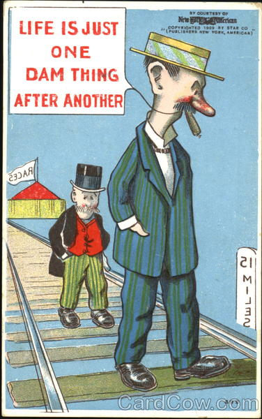 Two Men Walking on Railroad Track Comic, Funny