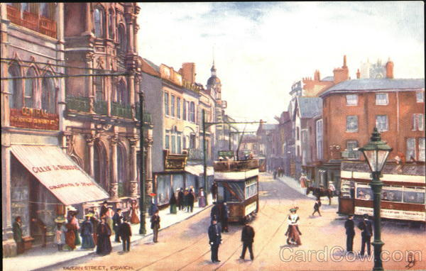 Downtown street with trolly cars Ipswich UK