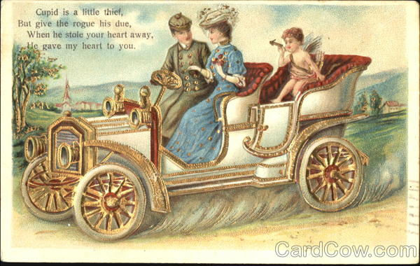 Young Man, Young Woman and Cupid in Car Romance & Love