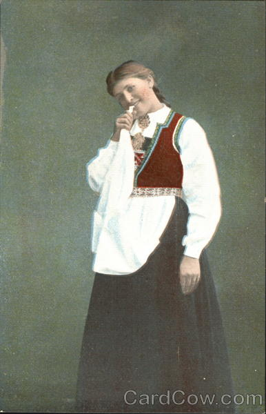 Woman Chewing on Apron