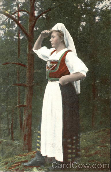 German Woman Searching in Forest
