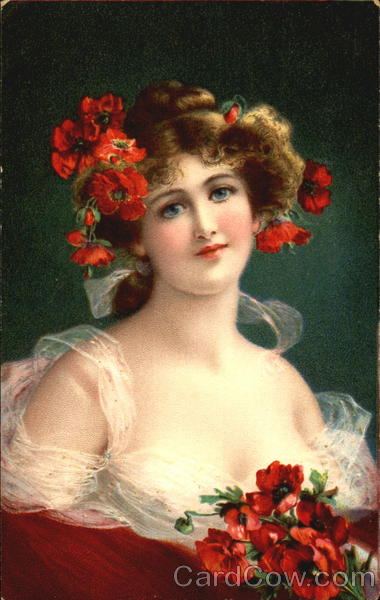 Young girl holding a bouquet of red flowers Women