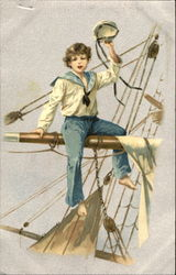 Sailor Boy Sits On Rigging
