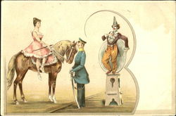 Circus Clown and a Woman on a Horse