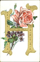 "Gold ""H"" With Roses"
