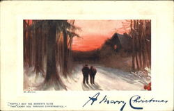 Happily May The Moments Glide That Carry You Through Christmastide Postcard