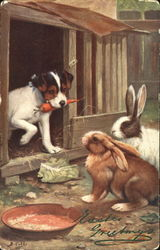 Dog and Two Bunnies