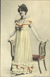 Lady in long white dress