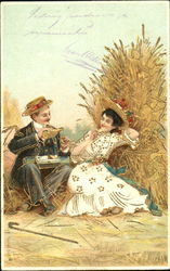 Man and woman courting