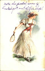 Woman Playing Tennis Postcard