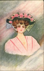 Woman Wearing Pink Flowered Bonnet