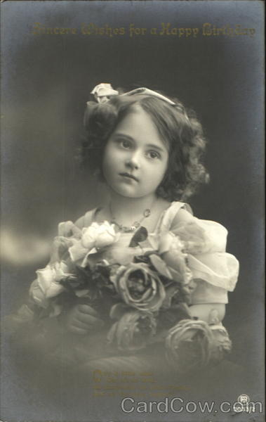 Sincere Wishes For A Happy Birthday: Little girl holds roses